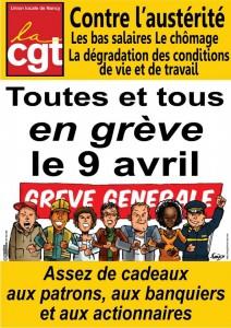 affiche grève du 9 avril